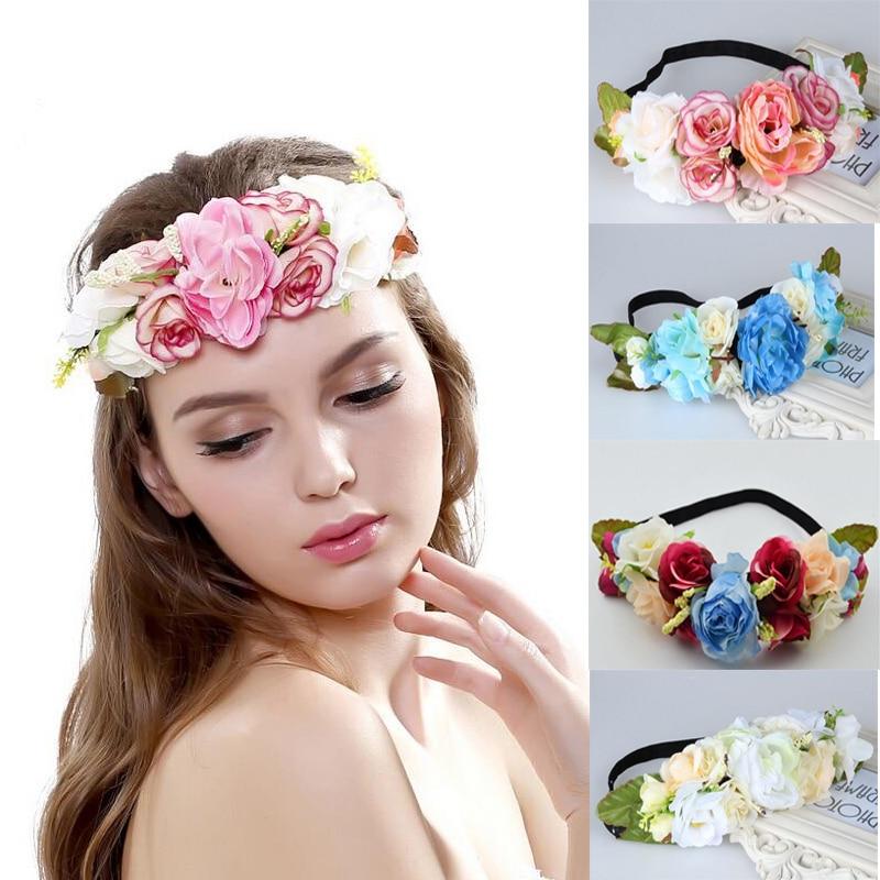 Guirnalda de flores de seda diadema de guirnalda de flores nupcial - Accesorios para la ropa