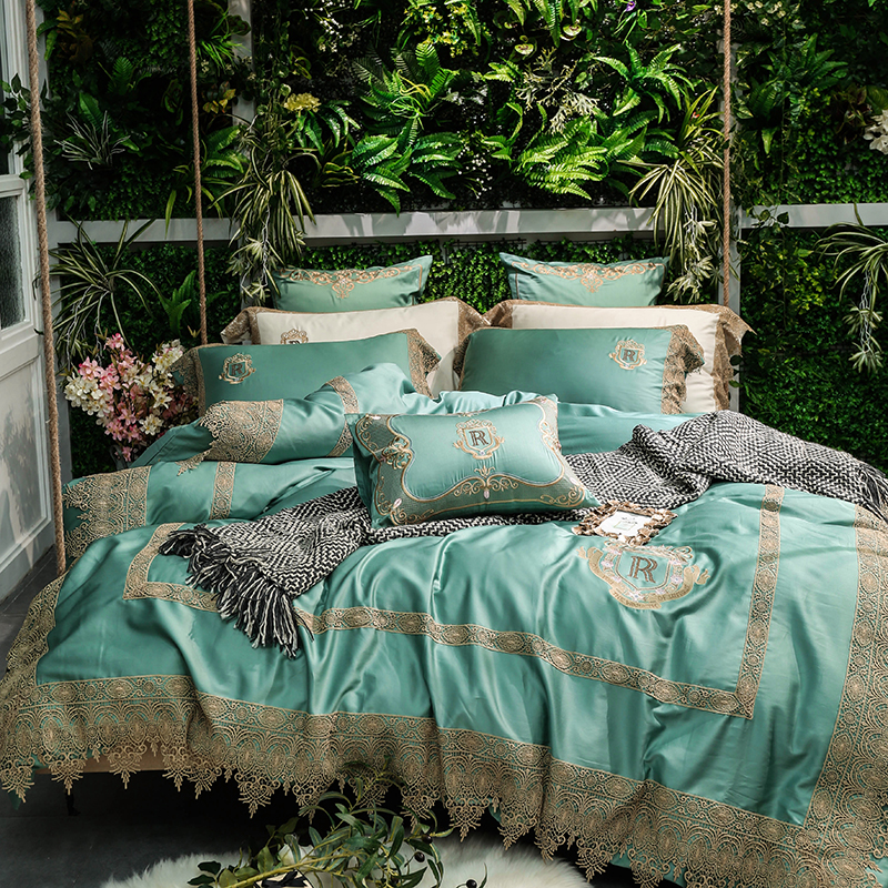 Luxury Green White Egyptian Cotton Gold Lace Embroidery Palace Bedding Set Duvet Cover Bed Sheet Bed Linen Pillowcase 4/7pcs