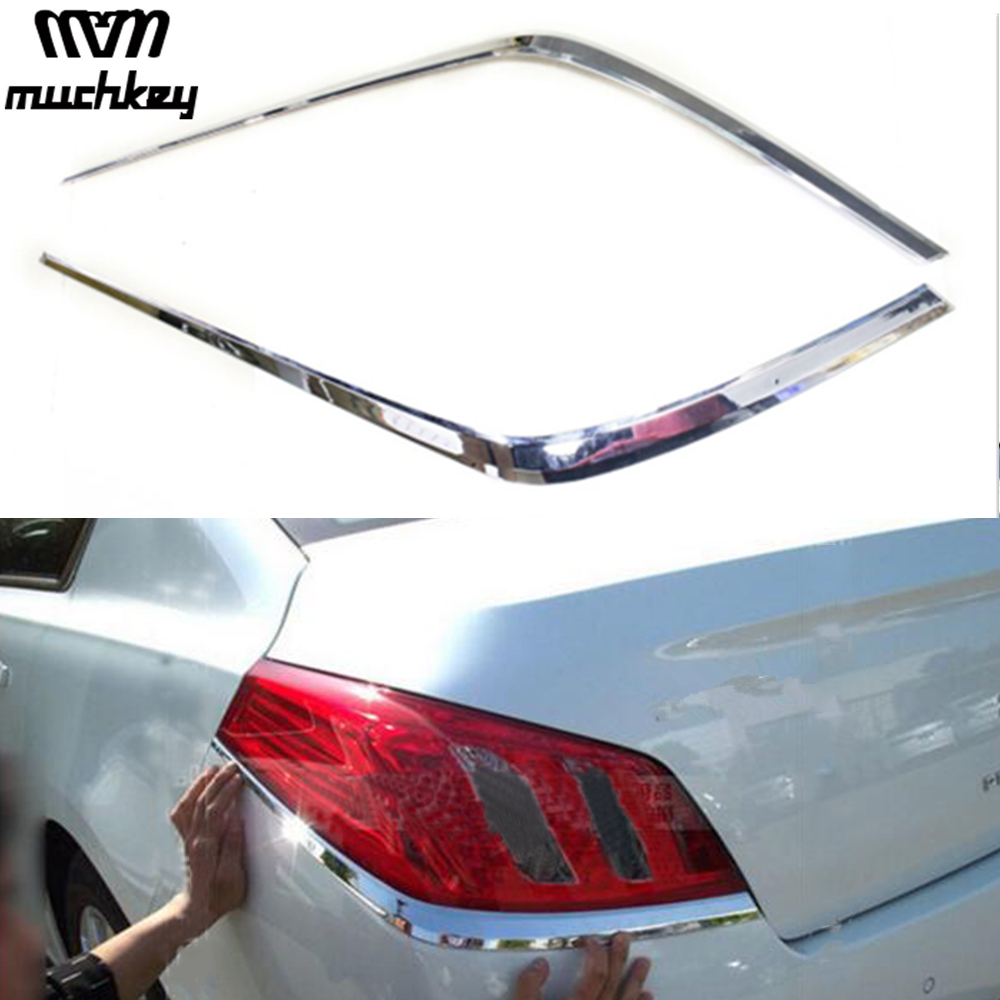 Newest Chrome Tail Rear Light Lamp Cover Trim High Quality For Peugeot 508 2011 2012 2pcs