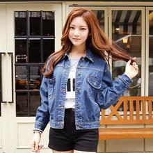 2016 Women Denim Jacket Autumn Winter Cotton Hole Woman Blue White Appliques Jeans Slim Coats Fashion clothes