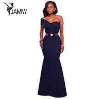 긴 드레스 파티 네이비 블루/레드 섹시한 어깨 하나 맥시 드레스