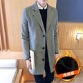2016 Новая Коллекция Весна Осень Британский turn down воротник Человек Случайный Куртка мода карман Тонкий твердые мужчины Пальто Плюс Размер 4XL 5XL