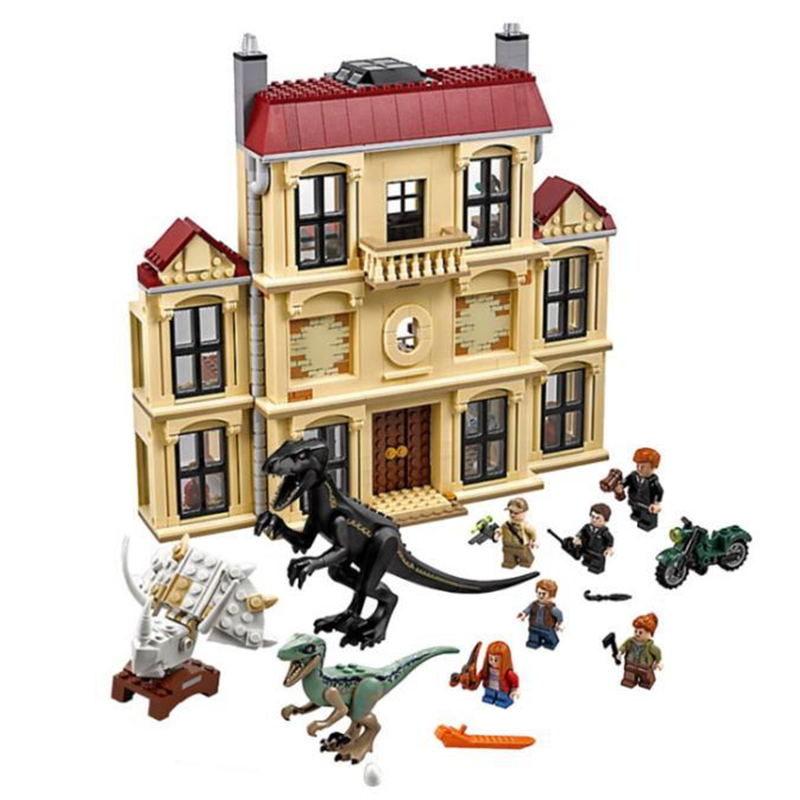 2018 legoings 75930 1046pcs Jurassic World Dinosaur Indoraptor Rampage At Lockwood Estate Building Block Toys For Children 10928