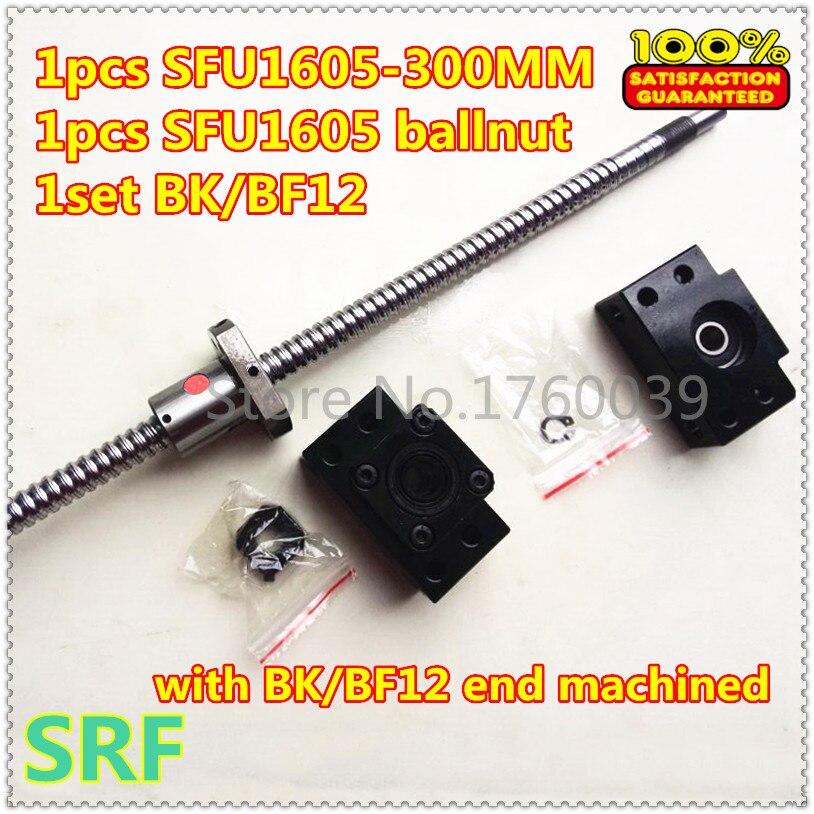 ФОТО 1pcs 16mm diamater Rolled Ball Screw SFU1605 L=300mm C7+1pcs SFU1605 ball nut+1set BK/ BF12 Ballscrew end support for CNC parts