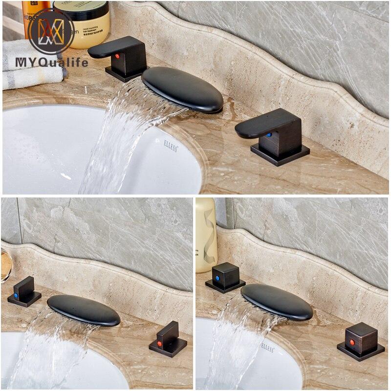 Масло втирают Бронзовый Широкое светодиодные бассейна Раковина кран Две ручки латунь Ванная комната умывальник, смесители