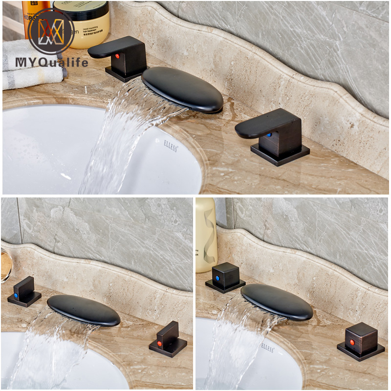Oil Rubbed Bronze Widespread LED Light Basin Sink Faucet Two Handles Brass Bathroom Wash Basin Mixer TapsOil Rubbed Bronze Widespread LED Light Basin Sink Faucet Two Handles Brass Bathroom Wash Basin Mixer Taps