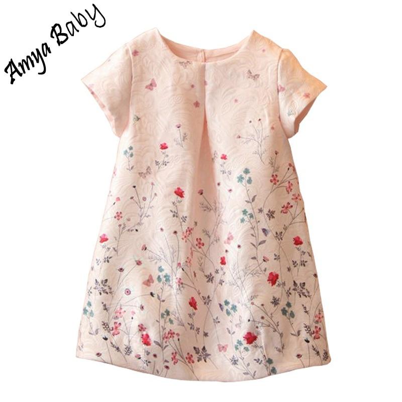 1a13b0f8eab47 Amya Bébé Filles D été Robe Imprimé Fleur Filles Robes Enfants Costumes  Pour Les Filles Princesse Robes Enfants Marque Vêtements