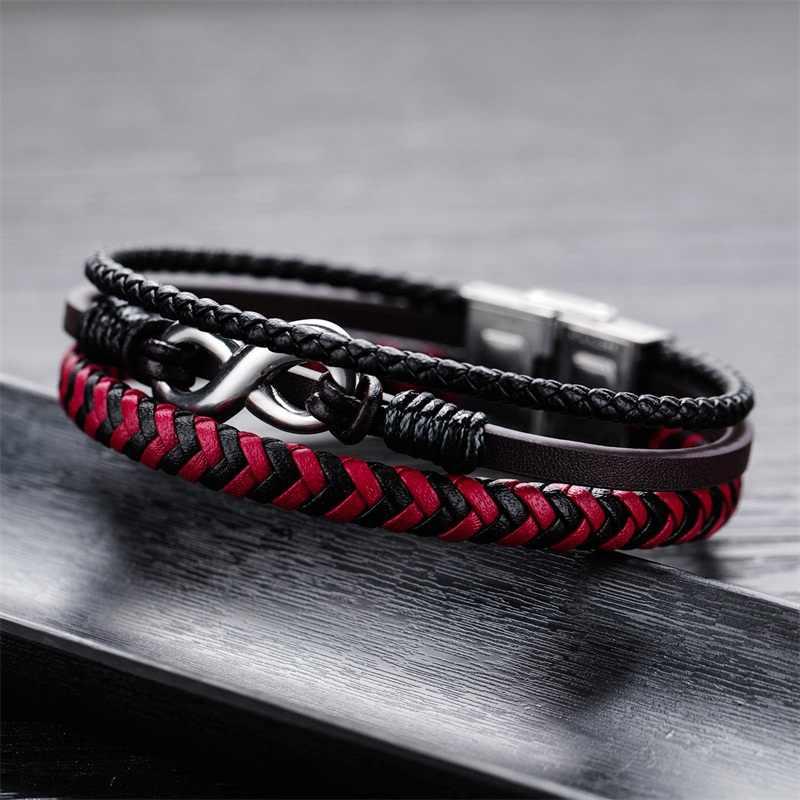 AZIZ BEKKAOUI w stylu Vintage czerwony ręcznie robiona bransoletka z prawdziwej skóry dla mężczyzn biżuteria niekończąca się miłość bransoletki ze stali nierdzewnej biżuteria prezent