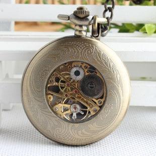 Bronze Antique Mechanical Pocket Watch Retro Swiss Red Cross Classic Men's and Women Bronze Tone for Birthday Gift 3XJ054