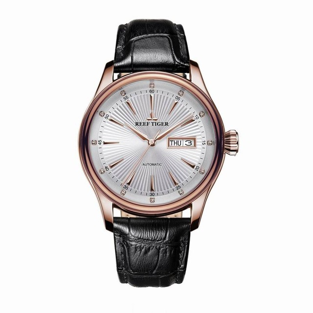 리프 타이거 클래식 serier rga8232 남자 패션 비즈니스 울트라 얇은 방수 자동 기계 손목 시계 가죽-에서기계식 시계부터 시계 의  그룹 3