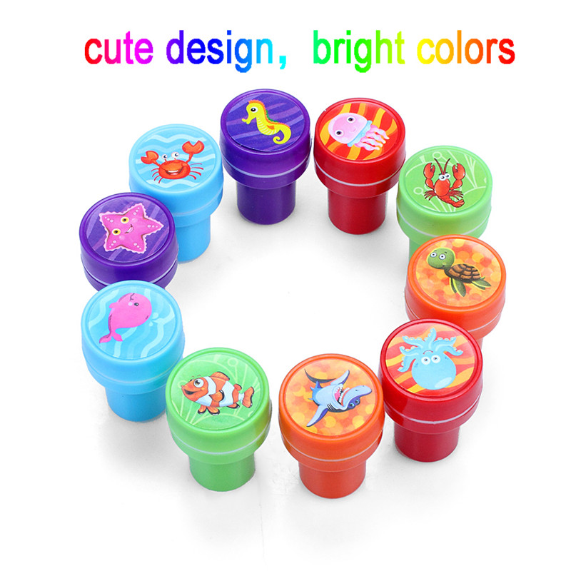 Dinosaur world stamping Cute Carton Stampers Kit Tool Set Of 10 Decorate Cards Crafts For Kids Children