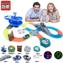 New Racing Track Set 160/240/320/800 Race Track with Car Assembly Flexible Glowing Tracks Vehicle Toys Children Kids Gifts цена 2017