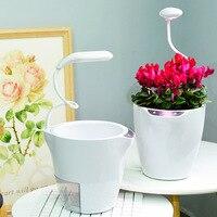 2PCS Modern Technology Automatic Water Absorption Flower Pots Planters Plant Growth Lamp Intelligent Lighting Self Watering Pot