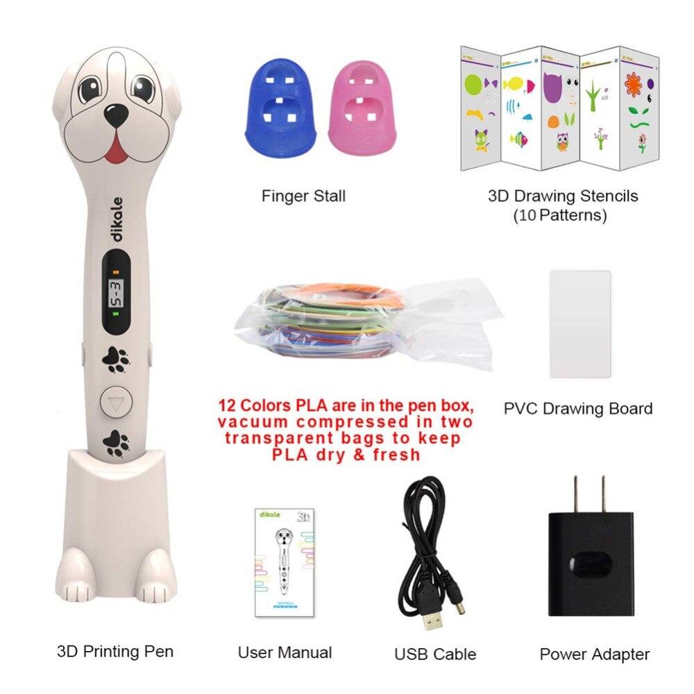 Dikale 3d impressão caneta bonito cão design