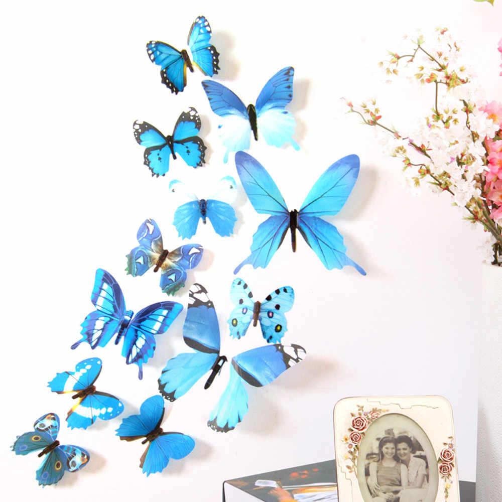 حار بيع 12 قطعة صائق ملصقات جدار المنزل زينة 3D فراشة قوس قزح ملصقات الحائط ديكور الحيوانات ديكور