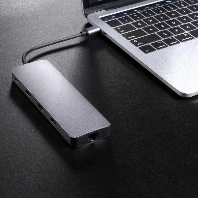 Tipe C Hub 9 In 1 USB-C untuk 4K HDMI PD VGA 3Xusb3. 0 TF Kartu Rj45 LAN Adaptor Converter Kabel