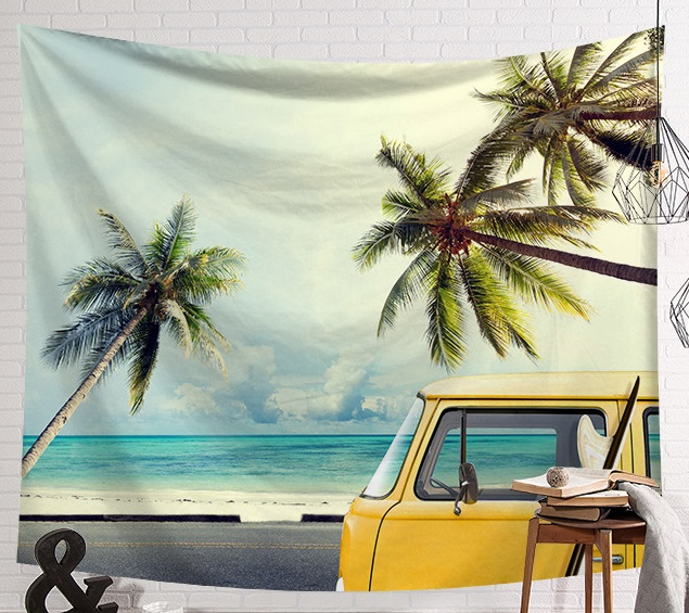 Image 2 - CAMMITEVER Summer Beach Sports Surf Board Wall Hanging Tapestries Blue Sky Decorative Wall Yoga Mats-in Tapestry from Home & Garden
