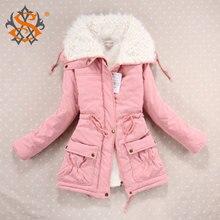Новый 2016 пальто зимы женщин Тонкий плюс размер Outwear Medium-Long Wadded куртка с капюшоном Толстые хлопка проложенные Теплый хлопка Parkas