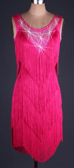 customize ,blue,pink Fringe Tassel rhinestone latin Rumba cha cha salsa tango one-piece dance dress competition wear S-XXXL