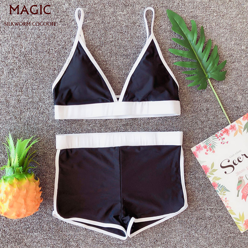 New Arrival Women Sports Swimwear Bikinis Triangle Top + Boxer Push-Up Padded Bra Beach Swimsuit Female Bathing Suit Beachwear