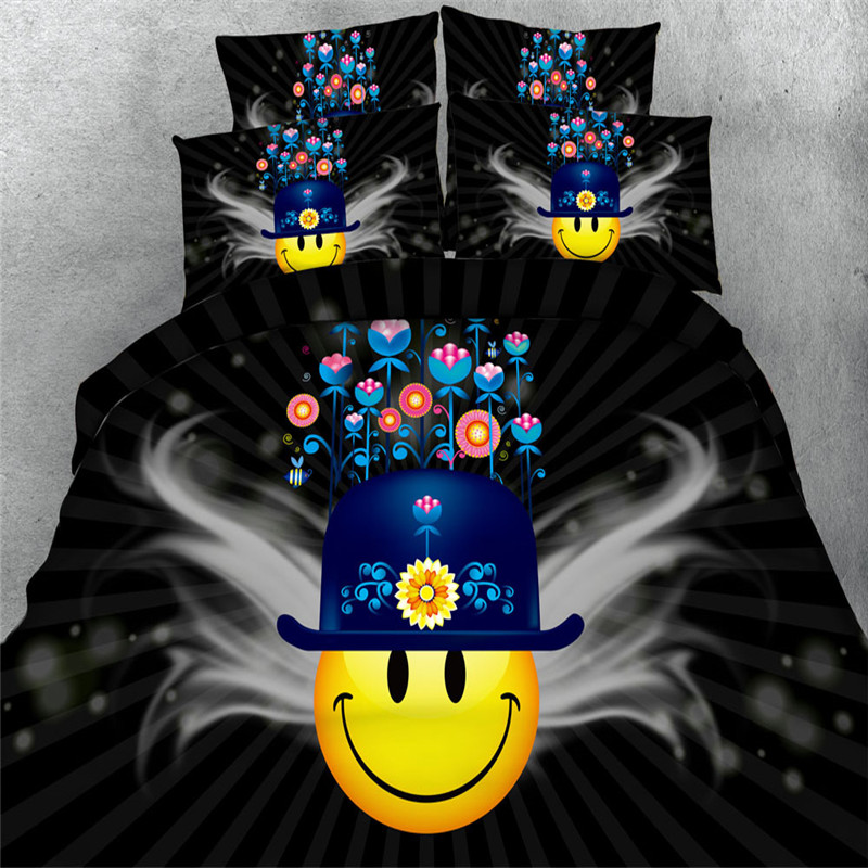 Yellow Smile Face Bedding sets black kids bedspreads cartoon bedclothes duvet cover king queen twin size girls/children bed set