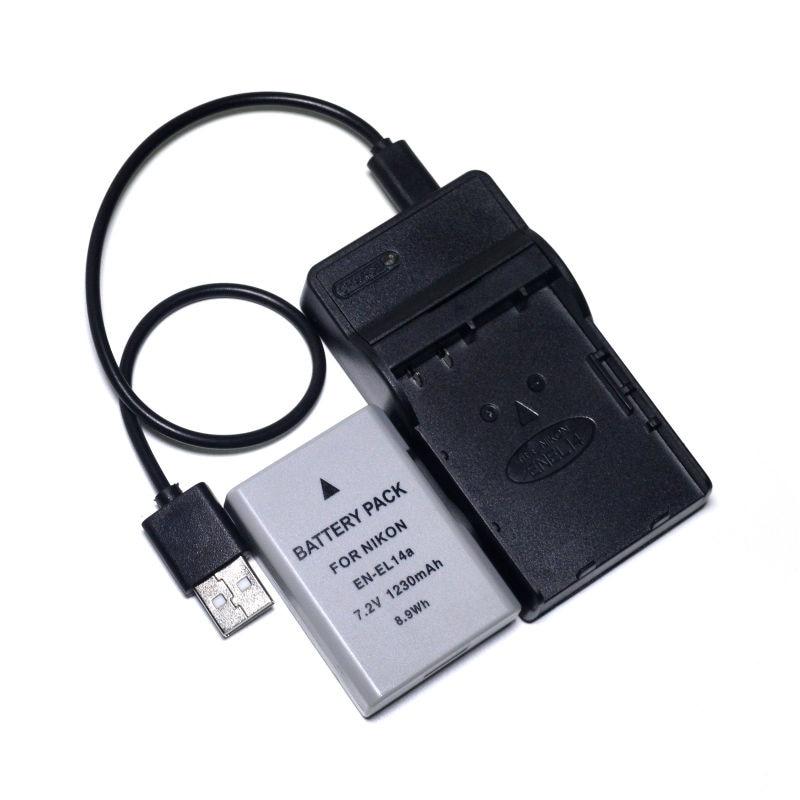 CONENSET 1pcs Li ion Battery 1 Charger For Nikon EN EL14 EN EL14A Df D5300 D3300