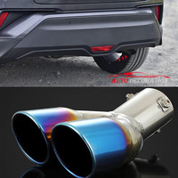 For Toyota C HR 2016 2017 2018 Car Styling Accessories Exterior Blue Stainless Steel Rear Exhaust