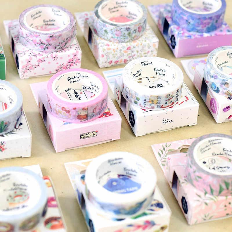 Flor de Cerezo primavera Lotkawaii flor alimentos animales cinta decorativa Washi DIY Scrapbooking cinta adhesiva escuela Oficina suministro