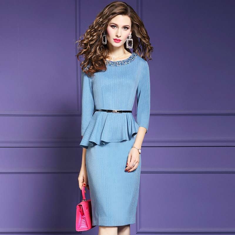 pencil dresses for women 2019 new Spring ladies elegant Party Dress Plus Size Vintage Beading sexy