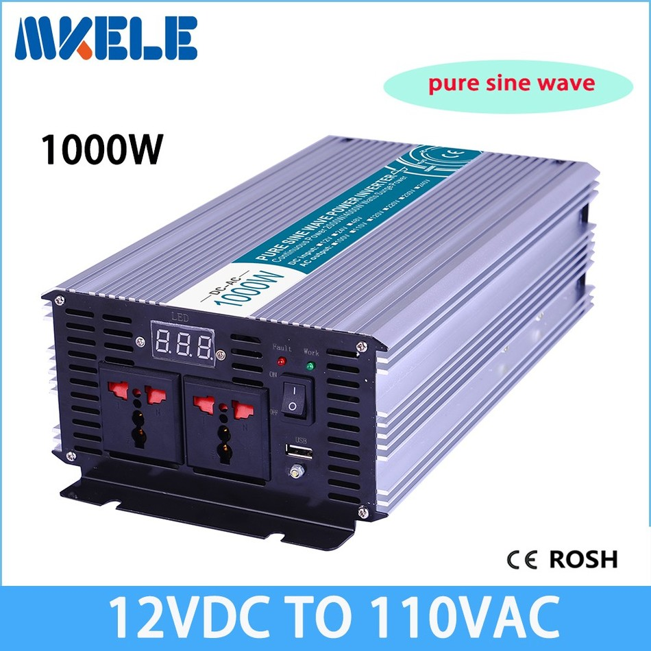 MKP1000-121 12v dc 110v ac off grid pure sine wave inverter voltage converter,solar inverter LED Display full power