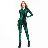 Movie2019 new Aquaman Mera Cosplay Costume Zentai Party Night club DS Fish scale Jumpsuits Halloween Sexy Adult Mermaid clothing