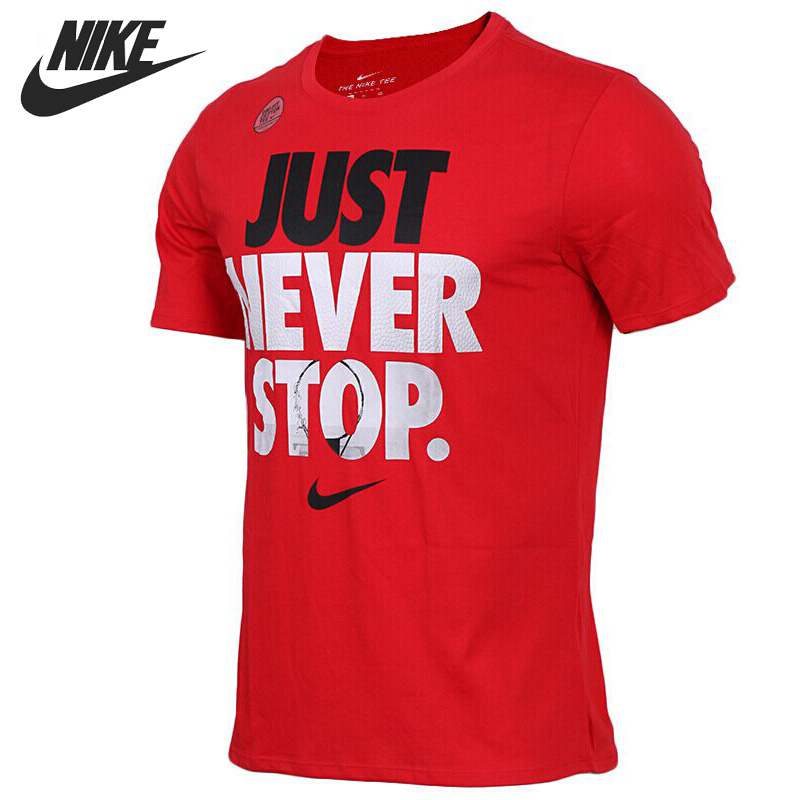 Original New Arrival 2018 NIKE AS M NK DRY TEE JUST NVR STOP Men's T-shirts short sleeve Sportswear original new arrival 2017 nike as m nk dry tee db st bm 1 men s t shirts short sleeve sportswear