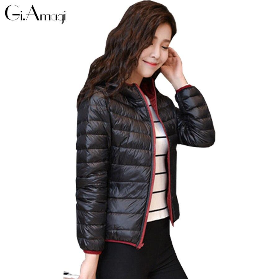 Hooded Double-sided Wear Design Ultra-light 90% White Duck Down Jacket Women Coats Parka Slim Jackets Female Winter Coat Parkas