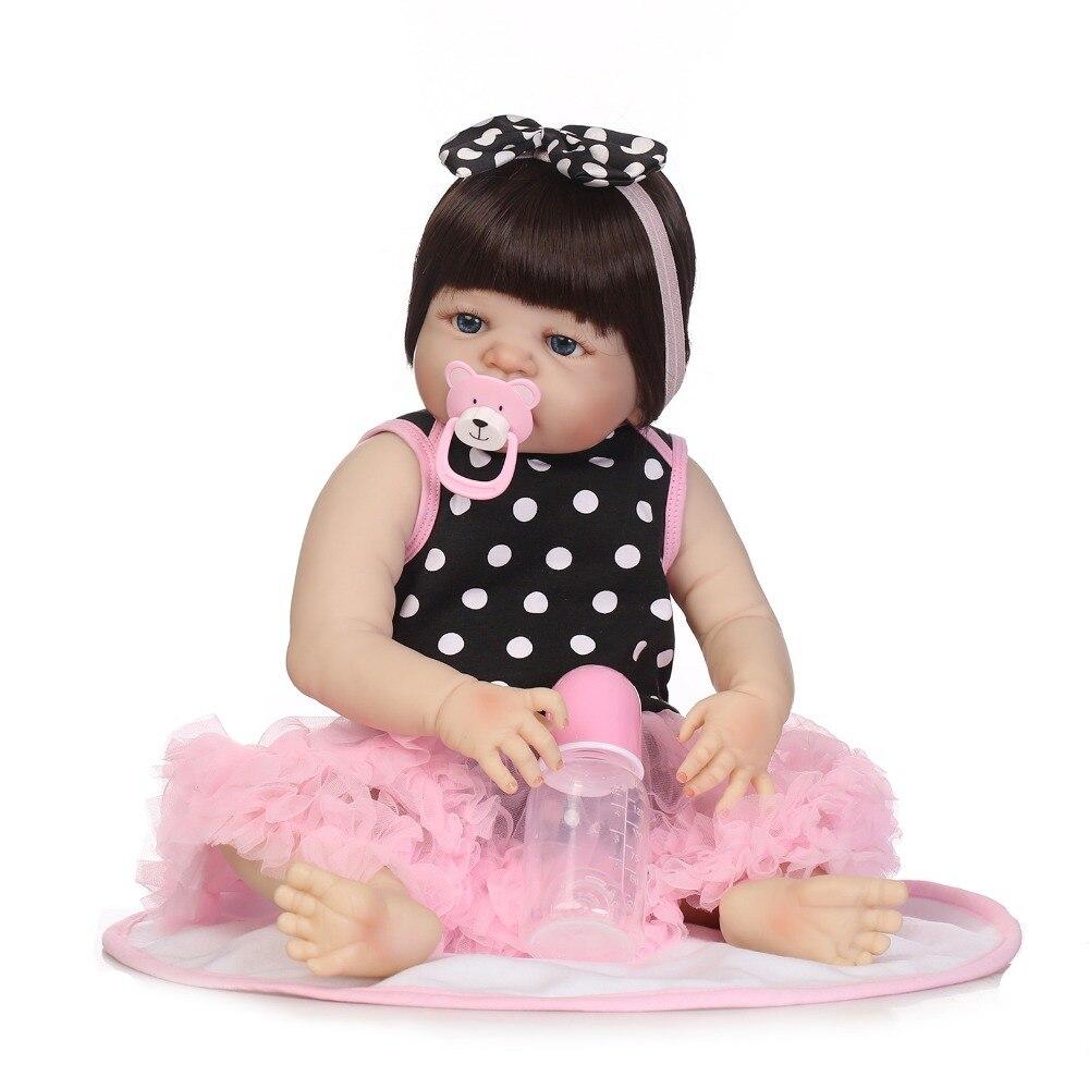 NPKCOLLECTION 55CM Soft Silicone Reborn Baby Doll Girl Toys Lifelike Babies Boneca Full VInyl Fashion Dolls