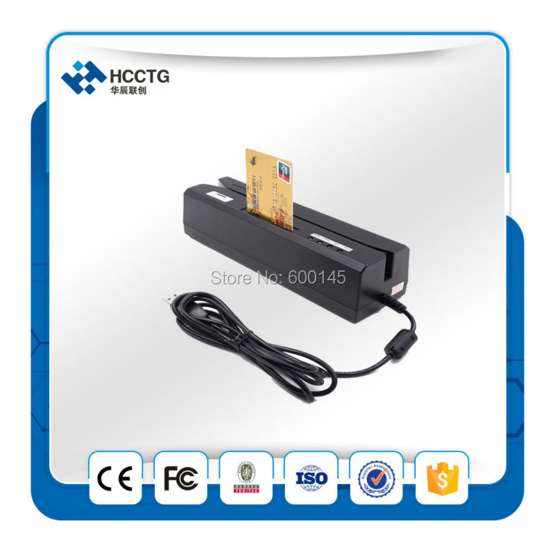 Lecteur de cartes à piste magnétique + RFID. IC lecteur de carte à puce écrivain + carte à puce RFID lecteur HCC80 avec interface usb