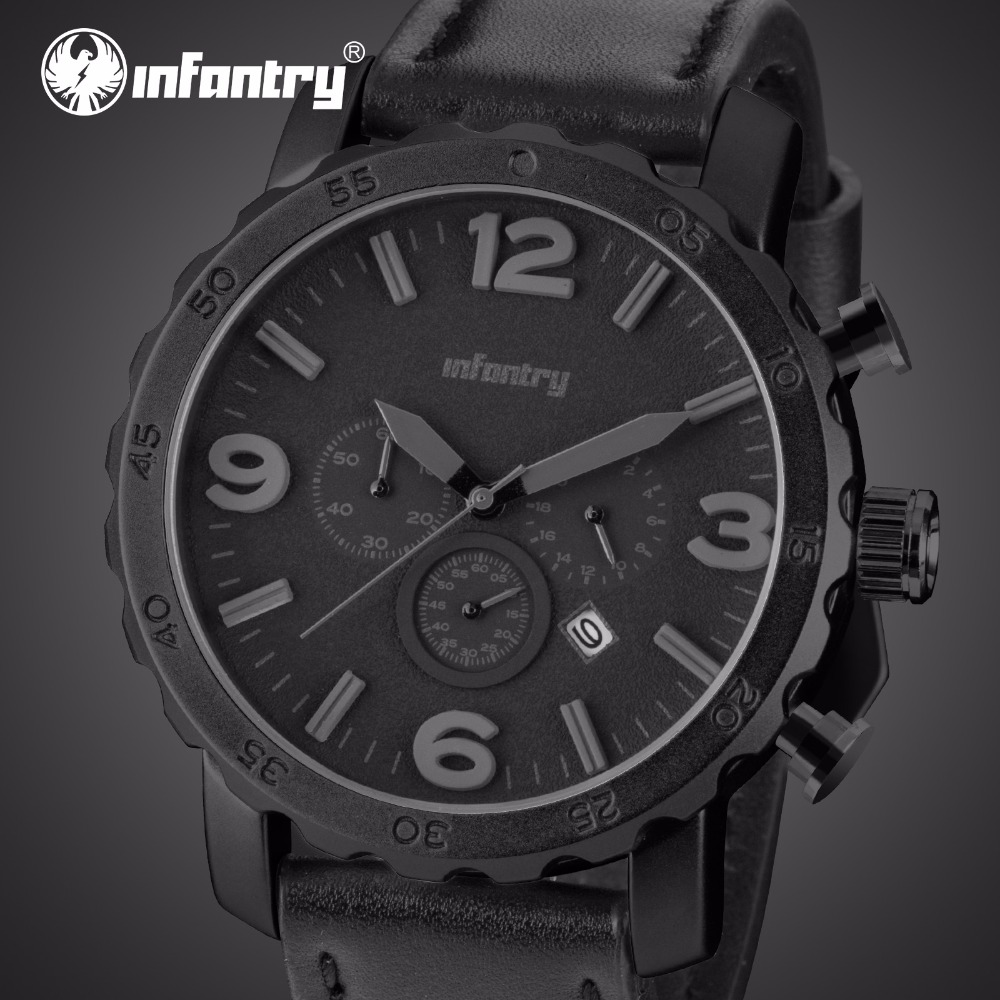 INFANTRY Quartz Watches Men Military Sports Watches Leather Strap Luxury Brand Water Resistant Wristwatch Male Table Relojes