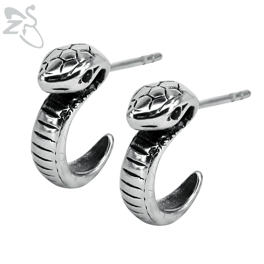 Black Stone Snake Studs Earring for Man Stainless Steel Punk Metal Animal Earring Studs Jewelry Fashion Ear Studs