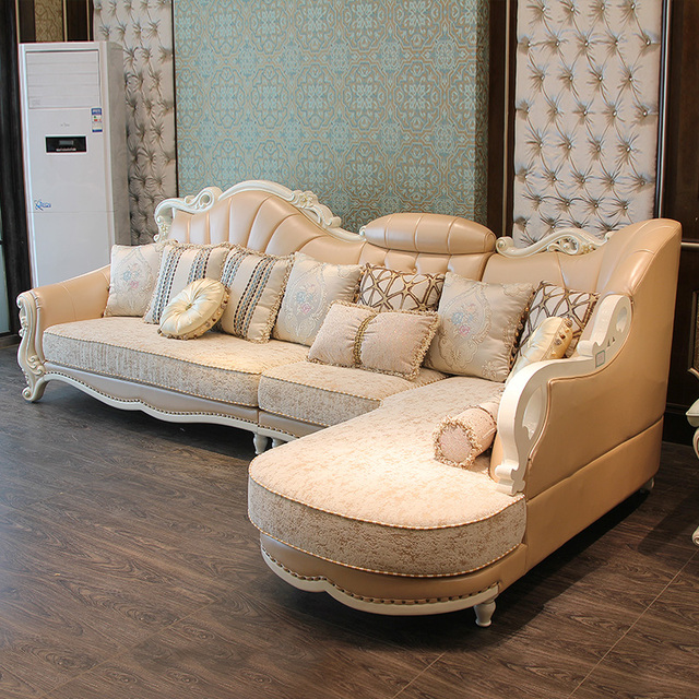 3 seat +chaise Lounge/lot) luxury top grain leather sofa for villa ...