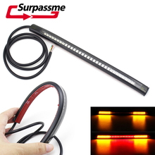 Motorcycle Soft Rubber Flexible Strip Tail Brake Stop Turn Signal License Plate Light Integrated 48 LED Red Amber Color