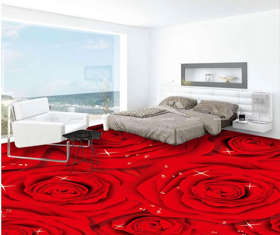 3d floor wallpapers Red Rose Fashion 3D floor Custom Photo self-adhesive 3D floor Wallpaper floor mural