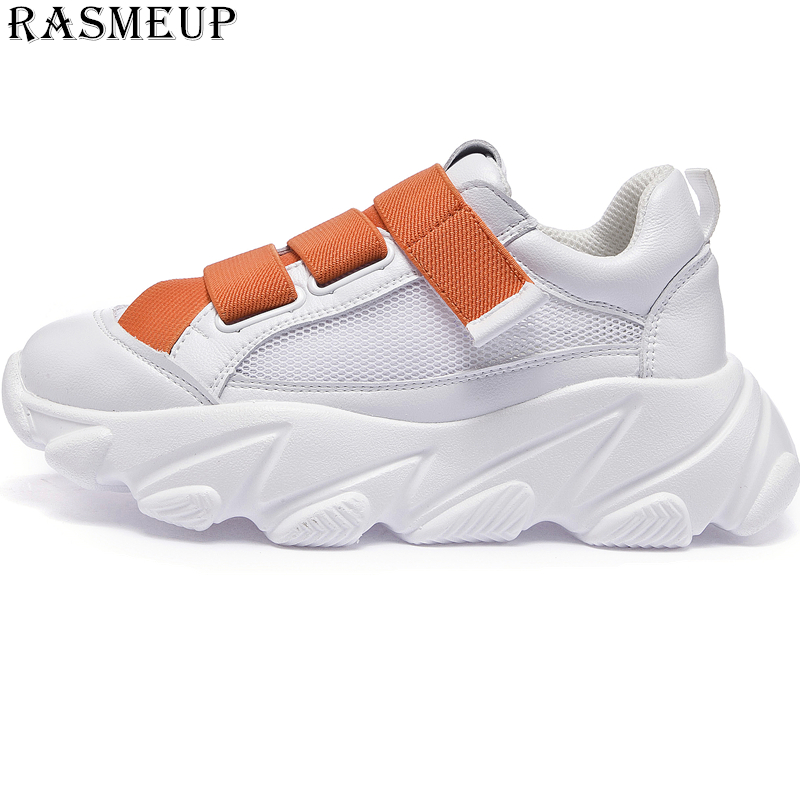 RASMEUP Mesh Breathable Women's Platform Shoes Woman Sneakers 2019 Summer Women Chunky Trainers Thick Sole Ladies Dad Footwear-in Women's Flats from Shoes    1