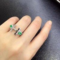 2017 реальные anillos QI Xuan_Trendy Jewelry_Colombia зеленый камень моды Rings_925 Golid серебро женщина Rings_Factory непосредственно продаж