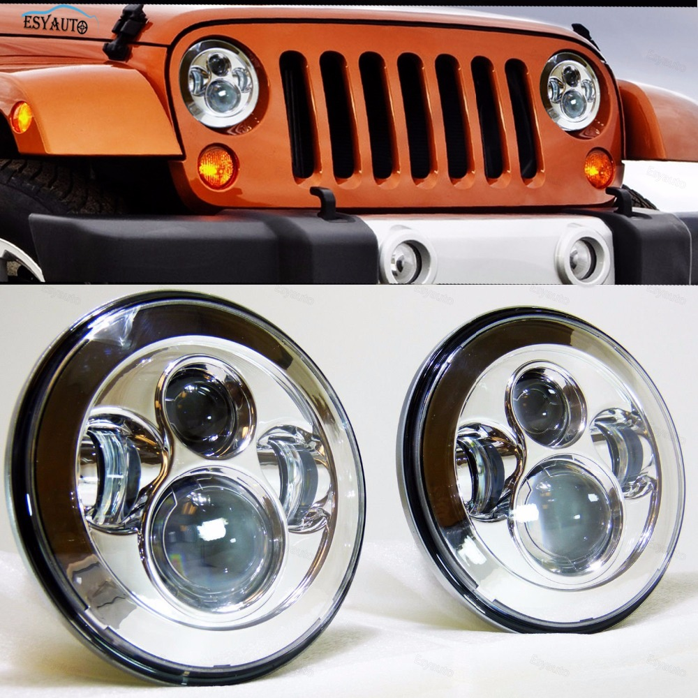 LED 7inch Headlights 40W Hi/Lo beam Headlanps daymaker white Lighting color for Jeep Wrangler JK TJ LJ car accessories windshield pillar mount grab handles for jeep wrangler jk and jku unlimited solid mount grab textured steel bar front fits jeep