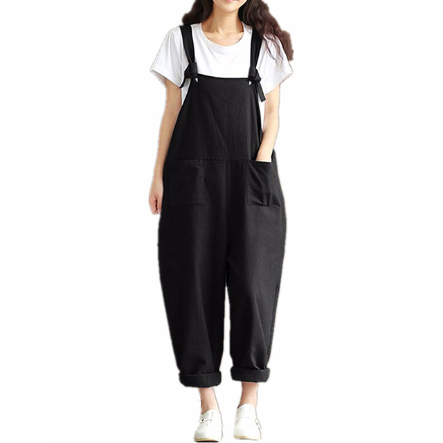 5394468928e Oversized Autumn Female Solid Suspender Pants Romper Women Casual Harem  Pants Overalls Trousers Loose Plus Size Rompers Pockets