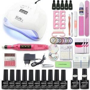 Image 1 - Manicure Set Voor Nail Kit 54/36WUV Lamp voor Nail Set met Nail Boor Machine 10pcs Nail Gel polish Losweken Manicure Tool Kit
