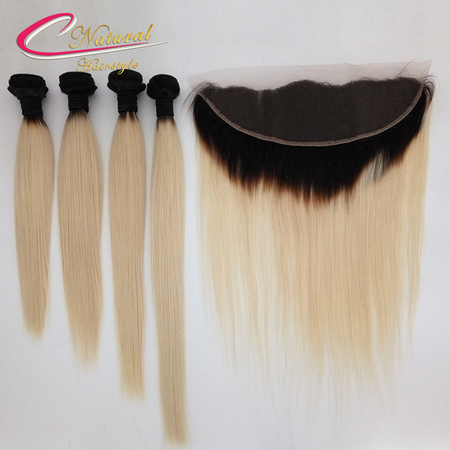 Ombre 613 Blonde Straight Hair Extensions With Lace Frontal Closure 4 Bundles With 13*4 Lace Frontal Ombre Blonde Human Hair