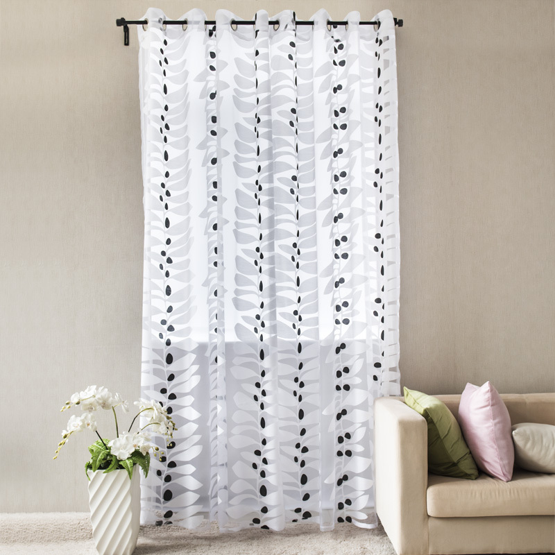 Blanco negro cortina burnout con ojales de 5 colores for Ver cortinas modernas