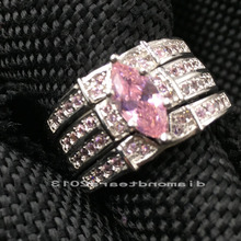 Size 5-10  Luxury Jewelry pear cut 14kt  white gold filled simulated stones pink AAA Cubic Zirconia Wedding women ring set gift
