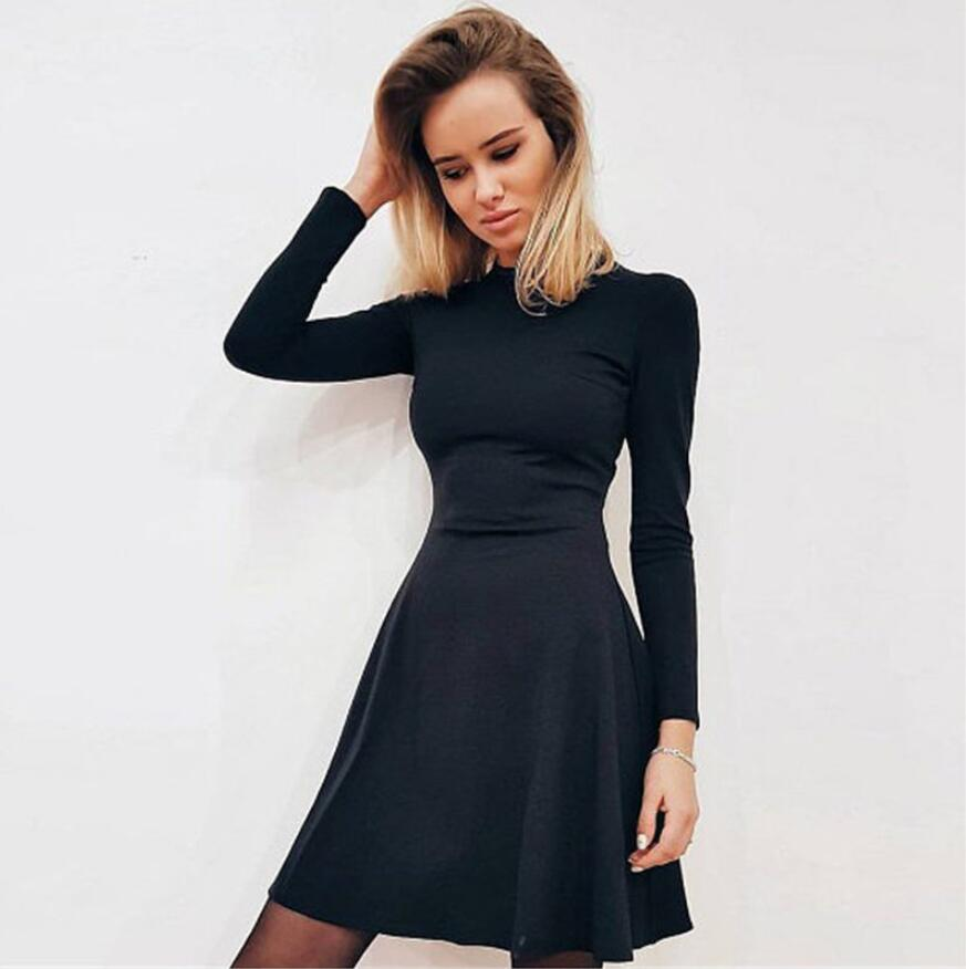 Fall Fashion 18 Women Long Sleeve Bodycon O-neck Casual Dress Winter Vintage Sexy Mini Party Dresses Autumn Clothes Vestidos 2