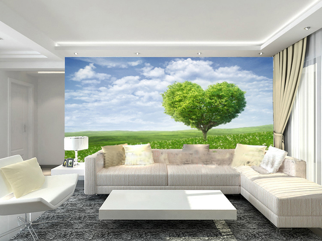 Custom Photo Wallpaper Love Tree Mural Living Room Garden Tv